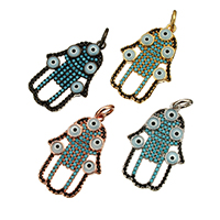 Evil Eye Pendants, Brass, Evil Eye Hamsa, plated, Islamic jewelry & micro pave cubic zirconia & enamel, more colors for choice, nickel, lead & cadmium free, 17x26.50x3mm, Hole:Approx 3.7mm, 10PCs/Lot, Sold By Lot