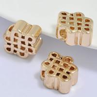 24K золото бисера, Латунь, Китайский узел, Позолоченные 24k, не содержит свинец и кадмий, 15x11.50x5mm, отверстие:Приблизительно 2.5mm, 20ПК/сумка, продается сумка