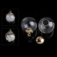 Szkło Globe wisiorek, ze żelazo, Koło, Platerowane w kolorze złota, 16x20mm, otwór:około 1mm, 100zestawy/wiele, sprzedane przez wiele