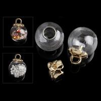 Szkło Globe wisiorek, ze żelazo, Koło, Platerowane w kolorze złota, 16x20mm, otwór:około 2.8mm, 100zestawy/wiele, sprzedane przez wiele