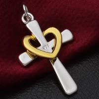 Krzyż wisiorki mosiądz, Powlekane, 925 logo & Dwukolorowe, bez zawartości ołowiu i kadmu, 21x41mm, otwór:około 3-5mm, 10komputery/torba, sprzedane przez torba