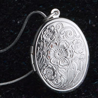 Brass Locket Pendants Flat Oval real silver plated with 925 logo lead   cadmium free 24x33mm Hole:Approx 3-5mm 10PCs/Bag