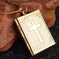 Brass Locket Pendants Rectangle real gold plated lead   cadmium free 27x35mm Hole:Approx 3-5mm 10PCs/Bag
