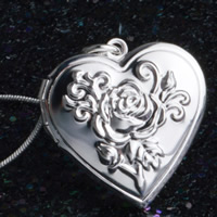Brass Locket Pendants Heart real silver plated with 925 logo lead   cadmium free 29x27mm Hole:Approx 3-5mm 10PCs/Bag