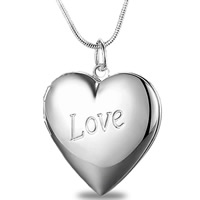 Brass Locket Pendants Heart word love real silver plated with 925 logo lead   cadmium free 29x28mm Hole:Approx 3-5mm 10PCs/Bag