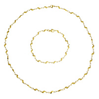 Refine Stainless Steel Jewelry Sets, bracelet & necklace, gold color plated, bar chain, 11x4x2mm, Length:Approx 19 Inch, Approx 8.5 Inch, Sold By Set