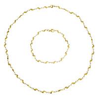Ogranicz ze stali nierdzewnej Zestawy biżuterii, bransoletka & naszyjnik, Stal nierdzewna, Platerowane w kolorze złota, pasek łańcuch, 11x4x2mm, długość:około 19 cal, około 8.5 cal, sprzedane przez Ustaw