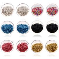 Стеклянный глобус Серьги, с Стеклянный бисер, нержавеющая сталь гвоздик, Плоская круглая форма, Платиновое покрытие платиновым цвет, прозрачный, Много цветов для выбора, 17x17mm, продается Пара