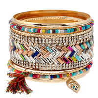 Zinc Alloy Bangle Set with Wool   Crystal   Glass Seed Beads Leaf gold color plated faceted   with rhinestone   multi-strand multi-colored lead   cadmium free 71mm Inner Diameter:Approx 68mm Length:Approx 8 Inch