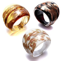 Lampwork Finger Ring for woman   gold sand mixed colors 24mm US Ring Size:7.5 3PCs/Lot