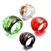 Lampwork Finger Ring for woman   gold sand mixed colors 24mm US Ring Size:7 4PCs/Lot