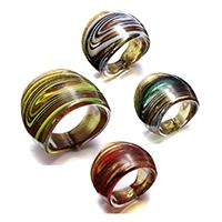 кольцо Лампворк, Лэмпворк, Женский & золотой песок, разноцветный, 25mm, размер:7.5, 4ПК/Лот, продается Лот