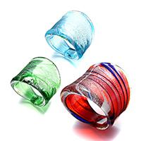 Anello da dito in vetro lavorato, per la donna & polvere argentata, colori misti, 27.50mm, Misura:8, 3PC/lotto, Venduto da lotto