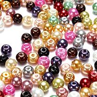 Пластиковая жемчужина Бусины, Круглая, разноцветный, 4-5mm, отверстие:Приблизительно 0.5mm, 500ПК/сумка, продается сумка