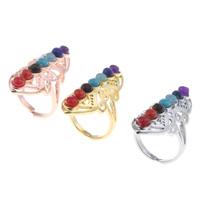 Кольца с камнями, цинковый сплав, с Полудрагоценный камень, Другое покрытие, Много цветов для выбора, не содержит свинец и кадмий, 20x27x40mm, размер:7, продается PC