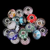 Wewnętrzny kwiatów koraliki Lampwork, Bęben, Ręcznie robione, mieszane kolory, 8x14mm, otwór:około 4mm, sprzedane przez PC