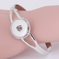 Snap Button Bracelet, Zinc Alloy, platinum color plated, for woman, lead & cadmium free, 18mm, Inner Diameter:Approx 6mm, Sold Per Approx 7 Inch Strand