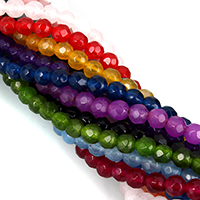 Dyed Jade Beads Round faceted 4mm Hole:Approx 0.7mm Length:Approx 14.5 Inch 5Strands/Lot Approx 90PCs/Strand
