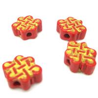 Киноварь бусы, бронзирование, красный, 9x11mm, отверстие:Приблизительно 1-2mm, 10ПК/сумка, продается сумка
