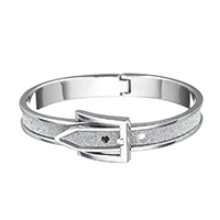 Zinc Alloy Bangle, platinum color plated, adjustable & for woman & stardust, 17x7mm, Inner Diameter:Approx 59x49mm, Length:Approx 8 Inch, Sold By PC