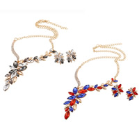 Crystal Jewelry Sets, earring & necklace, Zinc Alloy, with iron chain & Crystal, stainless steel post pin, with 5cm extender chain, Leaf, gold color plated, twist oval chain & faceted & with rhinestone, more colors for choice, lead & cadmium free, 30x25mm, 140x80mm, Length:Approx 18.5 Inch, Sold By Set