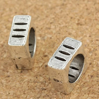 Zinc Alloy Jewelry Beads Square antique silver color plated large hole lead   cadmium free 5x10mm Hole:Approx 7mm 30PCs/Bag