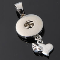 Snap Button Pendant, Zinc Alloy, Heart, plated, lead & cadmium free, 18mm, Hole:Approx 3-5mm, Inner Diameter:Approx 6mm, Sold By PC