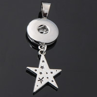 Snap Button Pendant, Zinc Alloy, Star, plated, lead & cadmium free, 18mm, Hole:Approx 3-5mm, Inner Diameter:Approx 6mm, Sold By PC
