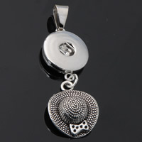 Snap Button Pendant, Zinc Alloy, Hat, plated, lead & cadmium free, 18mm, Hole:Approx 3-5mm, Inner Diameter:Approx 6mm, Sold By PC