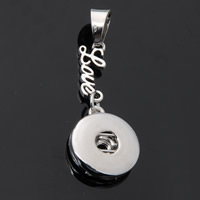 Snap Button Pendant, Zinc Alloy, Flat Round, word love, platinum color plated, with letter pattern, lead & cadmium free, 18mm, Hole:Approx 3-5mm, Inner Diameter:Approx 6mm, Sold By PC