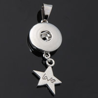 Snap Button Pendant, Zinc Alloy, Star, word love, plated, with letter pattern, lead & cadmium free, 18mm, Hole:Approx 3-5mm, Inner Diameter:Approx 6mm, Sold By PC