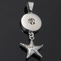 Snap Button Pendant, Zinc Alloy, Starfish, plated, lead & cadmium free, 18mm, Hole:Approx 3-5mm, Inner Diameter:Approx 6mm, Sold By PC