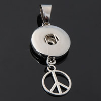 Snap Button Pendant, Zinc Alloy, Peace Logo, platinum color plated, lead & cadmium free, 18mm, Hole:Approx 3-5mm, Inner Diameter:Approx 6mm, Sold By PC
