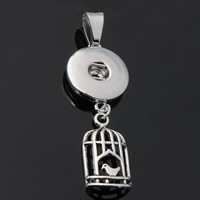 Snap Button Pendant, Zinc Alloy, Cage, plated, lead & cadmium free, 18mm, Hole:Approx 3-5mm, Inner Diameter:Approx 6mm, Sold By PC