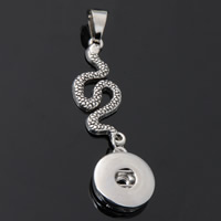 Snap Button Pendant, Zinc Alloy, Snake, plated, lead & cadmium free, 18mm, Hole:Approx 3-5mm, Inner Diameter:Approx 6mm, Sold By PC