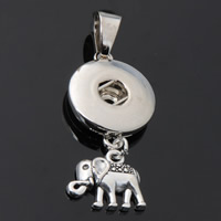 Snap Button Pendant, Zinc Alloy, Elephant, plated, lead & cadmium free, 18mm, Hole:Approx 3-5mm, Inner Diameter:Approx 6mm, Sold By PC