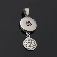 Snap Button Pendant, Zinc Alloy, Flower, plated, lead & cadmium free, 18mm, Hole:Approx 3-5mm, Inner Diameter:Approx 6mm, Sold By PC