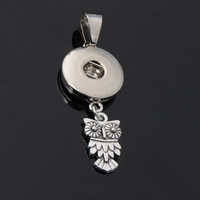 Snap Button Pendant, Zinc Alloy, Owl, plated, lead & cadmium free, 18mm, Hole:Approx 3-5mm, Inner Diameter:Approx 6mm, Sold By PC