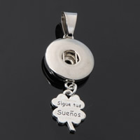 Snap Button Pendant, Zinc Alloy, Four Leaf Clover, plated, with letter pattern, lead & cadmium free, 18mm, Hole:Approx 3-5mm, Inner Diameter:Approx 6mm, Sold By PC