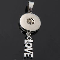 Snap Button Pendant, Zinc Alloy, word love, plated, with letter pattern, lead & cadmium free, 18mm, Hole:Approx 3-5mm, Inner Diameter:Approx 6mm, Sold By PC