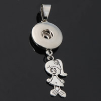 Snap Button Pendant, Zinc Alloy, Girl, plated, lead & cadmium free, 18mm, Hole:Approx 3-5mm, Inner Diameter:Approx 6mm, Sold By PC