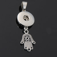 Snap Button Pendant, Zinc Alloy, Hamsa, plated, lead & cadmium free, 18mm, Hole:Approx 3-5mm, Inner Diameter:Approx 6mm, Sold By PC