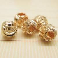 24K золото бисера, Латунь, Круглая, Позолоченные 24k, разный размер для выбора, не содержит свинец и кадмий, отверстие:Приблизительно 1-2mm, 10ПК/сумка, продается сумка