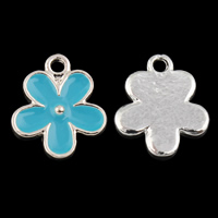 Zinc Alloy Flower Pendler sølvfarvet forgyldt emalje bly   cadmium fri 10x12x2mm Hole:Ca. 1mm Solgt af PC