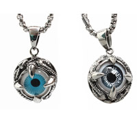 Evil Eye Pendants, Titanium Steel, with Resin, Flat Round, Islamic jewelry & evil eye pattern & blacken, more colors for choice, 20mm, Hole:Approx 3-5mm, Sold By PC