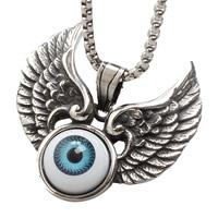 Evil Eye Pendants, Titanium Steel, with Resin, Wing Shape, evil eye pattern & blacken, 46x48mm, Hole:Approx 3-5mm, 3PCs/Bag, Sold By Bag