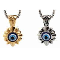 Evil Eye Pendants, Titanium Steel, with Resin, Flower, plated, evil eye pattern, more colors for choice, 25x40mm, Hole:Approx 3-5mm, 3PCs/Bag, Sold By Bag