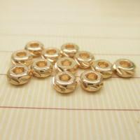 24K золото бисера, Латунь, Круглая форма, Позолоченные 24k, не содержит свинец и кадмий, 4x2mm, отверстие:Приблизительно 1-2mm, 10ПК/сумка, продается сумка