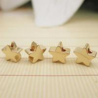 24K золото бисера, Латунь, Звезда, Позолоченные 24k, не содержит свинец и кадмий, 5x2.6mm, отверстие:Приблизительно 1-2mm, 10ПК/сумка, продается сумка