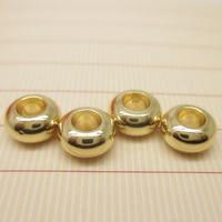 24K золото бисера, Латунь, Цилиндрическая форма, Позолоченные 24k, разный размер для выбора, не содержит свинец и кадмий, отверстие:Приблизительно 1-2mm, 10ПК/сумка, продается сумка